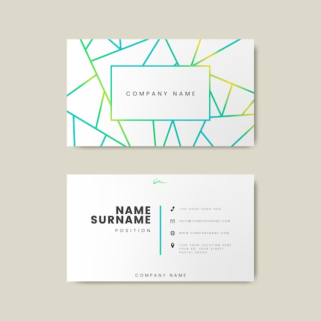 Creative minimal and modern business card design featuring geometric shapes Free Vector