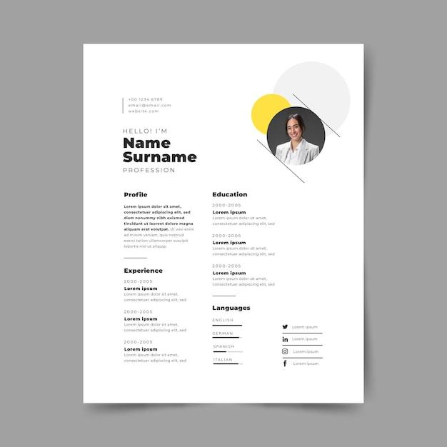 Creative minimalist cv templates Free Vector