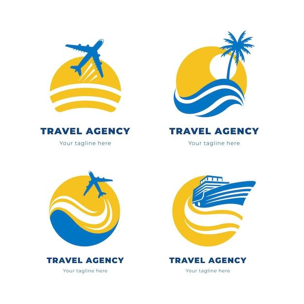 Creative minimalist travel logos Free Vector