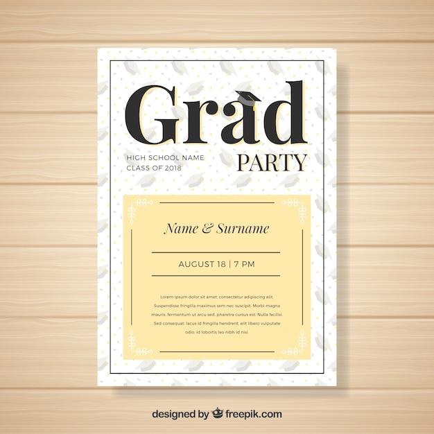 Creative modern graduation party invitation Free Vector