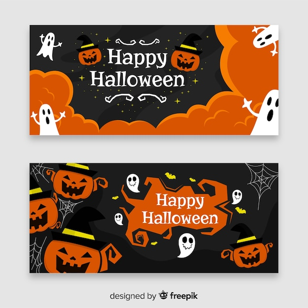 Creative modern halloween banners Free Vector