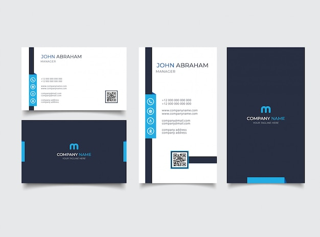 Creative modern name card and business card Premium Vector