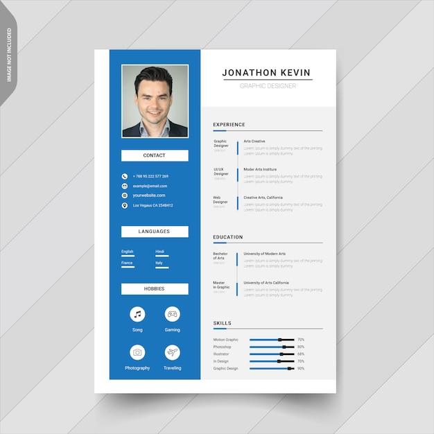 Creative modern resume template design Premium Vector