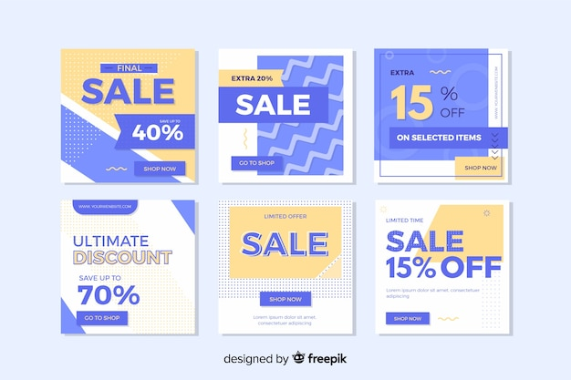 Creative modern sales banners for social media Free Vector