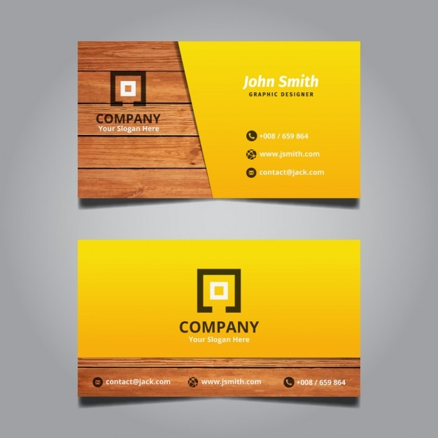 Creative Modern Wooden Business Card Free Vector