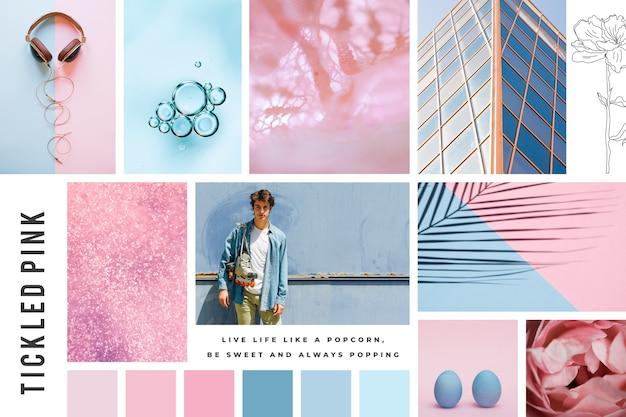 Creative mood board in pastel colors Free Vector