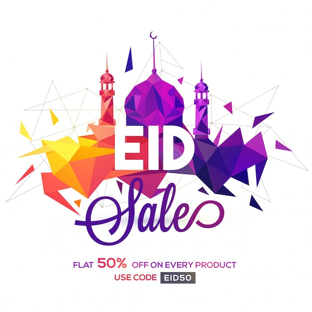 Creative mosque made by colorful abstract polygonal shapes on white background. eid sale poster, banner or flyer design. Free Vector