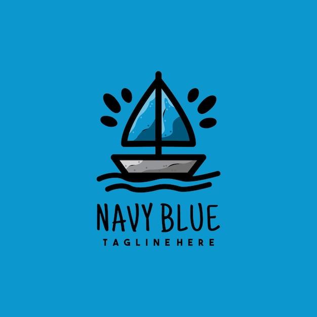 Креативный дизайн логотипа иллюстрации темно-синей лодки Premium векторы