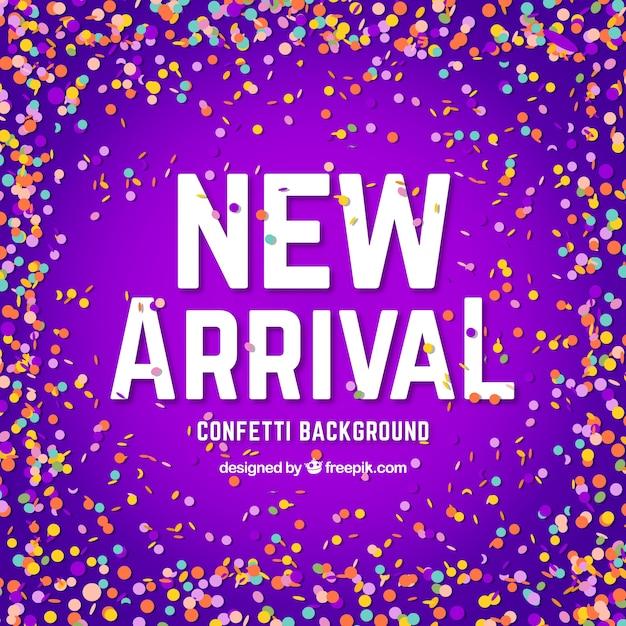 Creative new arrival confetti background Free Vector