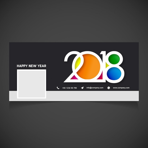 creative new year 2018 facebook cover vector free download