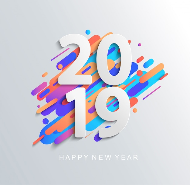 Creative new year 2019 design card Premium Vector