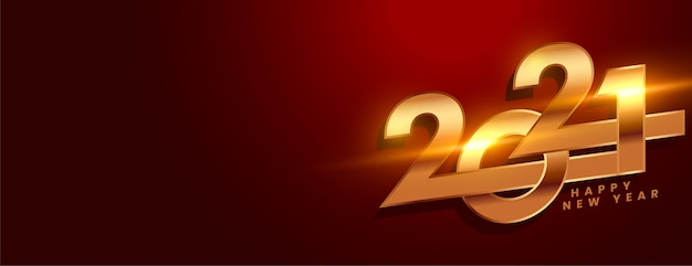 Creative new year banner with 2021 numbers Free Vector