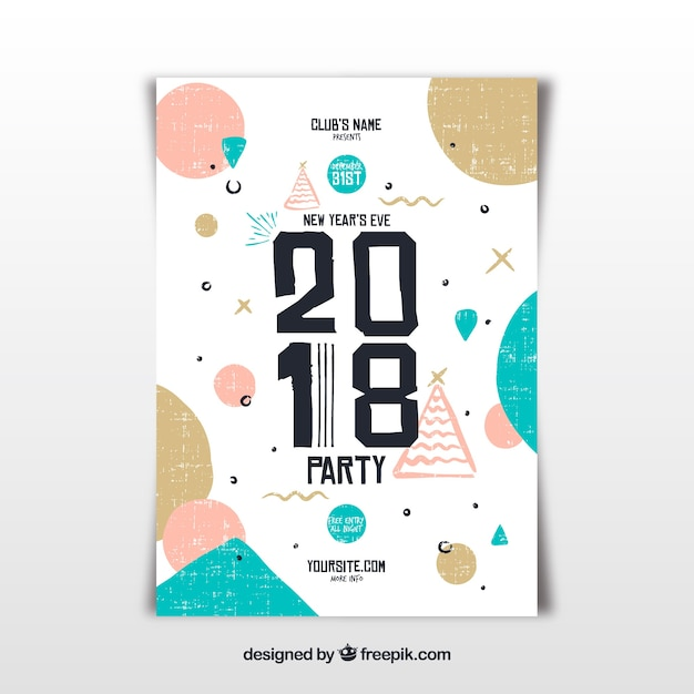 creative new year flyer template vector free download