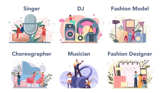 Creative occupation set. fashion designer and dj at work, dancer and musician. collection of hobby and modern profession. Premium Vector