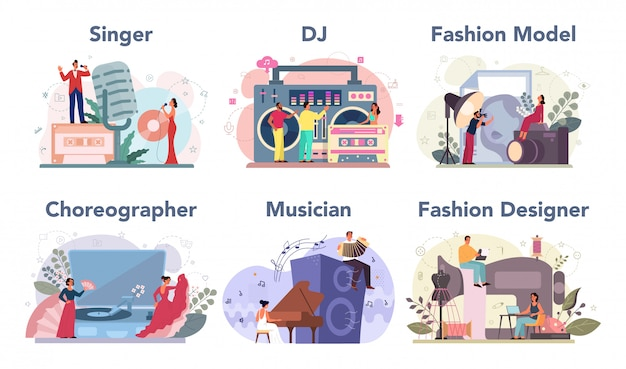 Creative occupation set. fashion er and dj at work, dancer Premium Vector