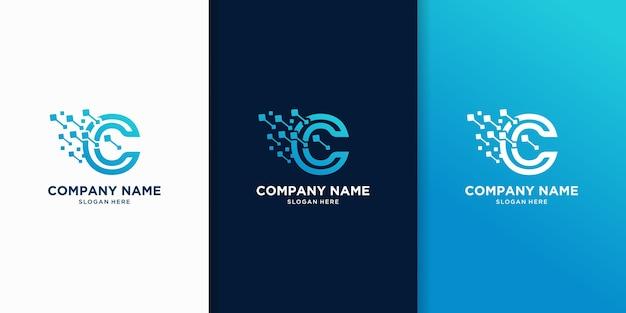 文字cテクノロジーのロゴデザインのクリエイティブ Premiumベクター