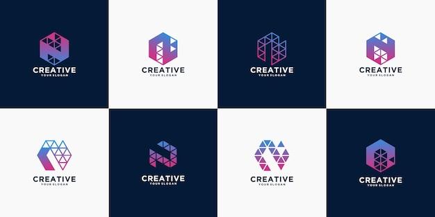 レターテクノロジーのロゴデザインのクリエイティブ Premiumベクター