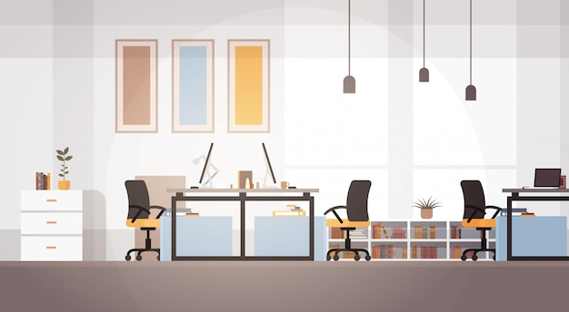 Creative office co-working center university campus modern workplace Premium Vector