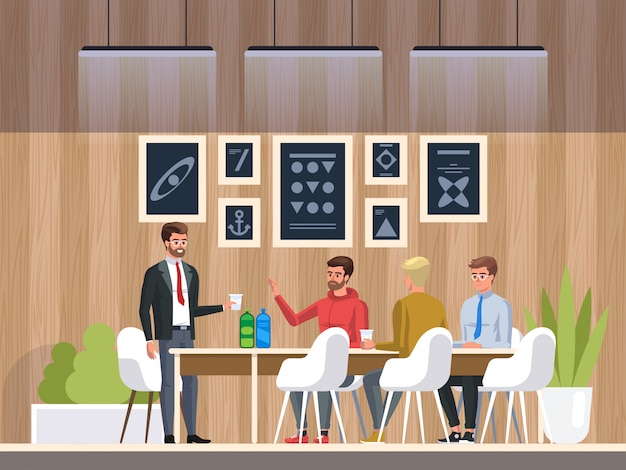 Creative office coworking center Premium Vector