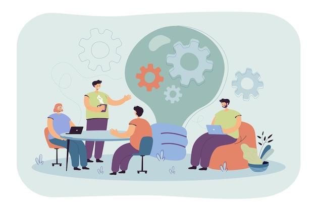 Impiegati creativi che discutono idee nell'illustrazione piana isolata squadra. illustrazione del fumetto Vettore gratuito