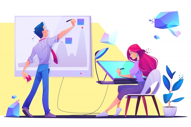 Creative office workers illustration Free Vector