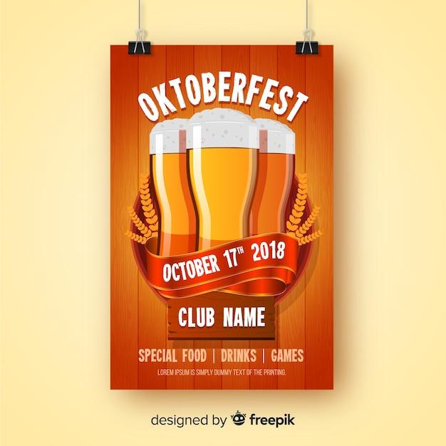 Creative oktoberfest flyer template Free Vector
