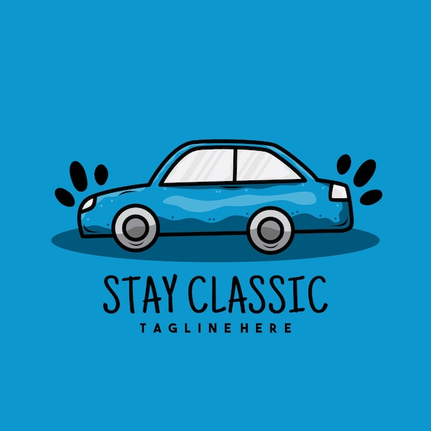 Creative old blue car illustration logo design Premium Vector