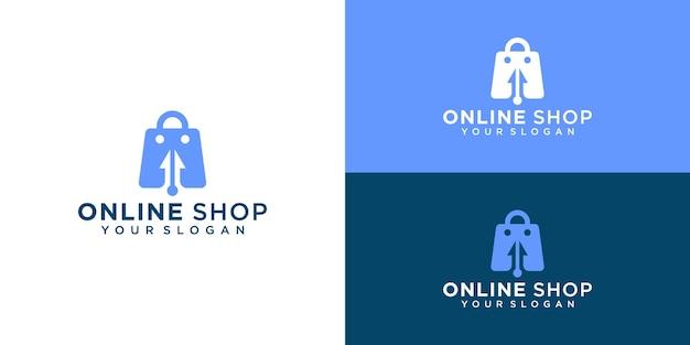 クリエイティブなオンラインショップ、カーソルロゴテンプレートと名刺を組み合わせたバッグ Premiumベクター