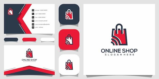 クリエイティブなオンラインショップ、シグナルロゴデザインテンプレートと組み合わせたバッグ Premiumベクター