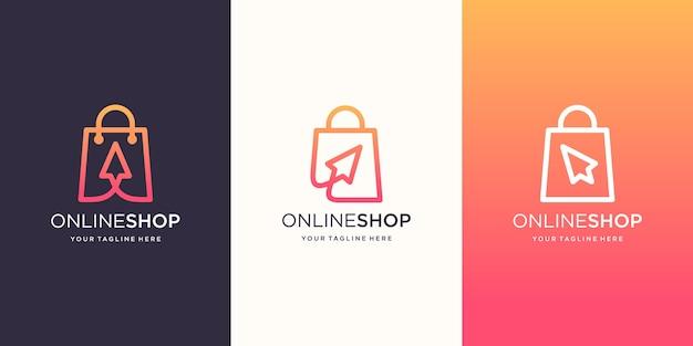 クリエイティブオンラインショップのロゴデザインテンプレート Premiumベクター