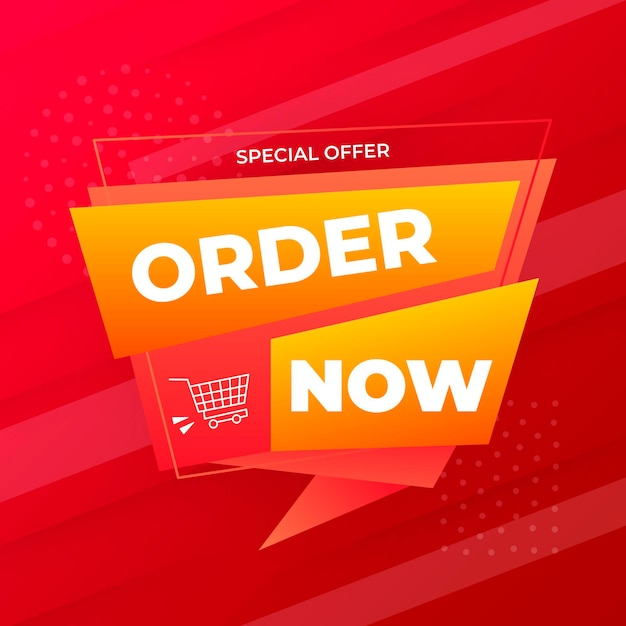 Creative order now banner Free Vector
