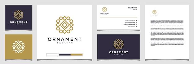 ラインアートスタイルの創造的な飾りサークルコンセプトロゴ。ロゴ、名刺、レターヘッド Premiumベクター