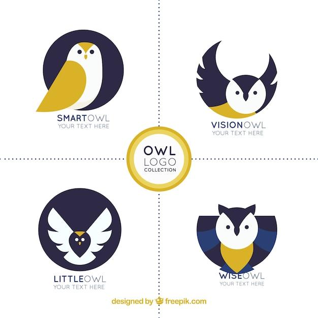 Creative owl logo collection Free Vector