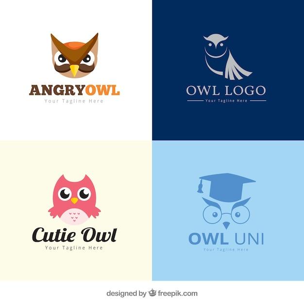 Creative owl logo set Free Vector
