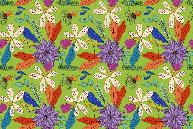 Motivo floreale tropicale dipinto creativo Vettore gratuito