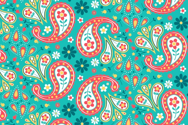 Creative paisley pattern with colourful elements Free Vector