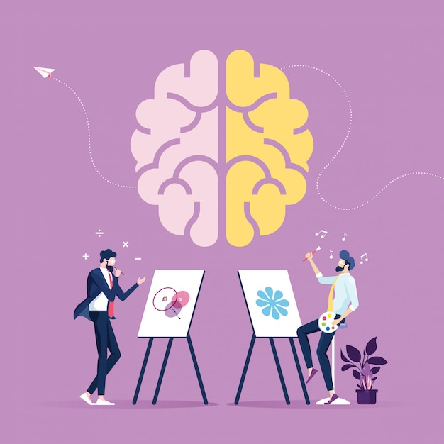 Creative part and logic part with social and business Premium Vector