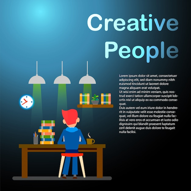 Creative people. freelancer. happy working man. Premium Vector