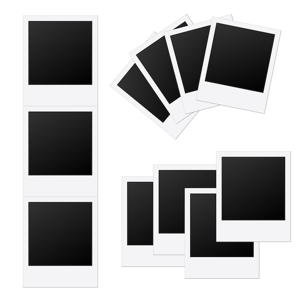 Creative photo frame template mockup. Premium Vector