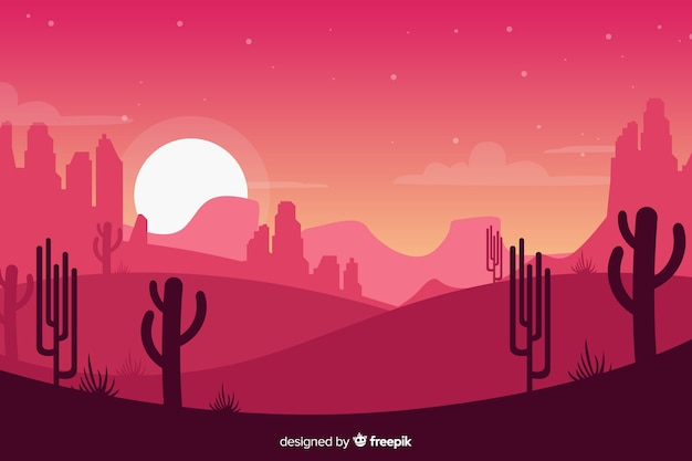 Creative pink desert landscape background Free Vector