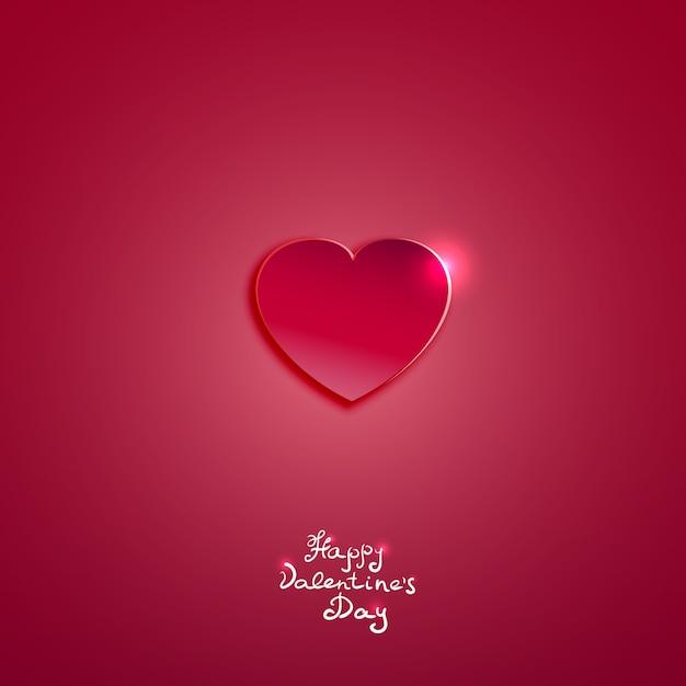 Творческое розовое бумажное сердце на день святого валентина карты векторный фон Бесплатные векторы