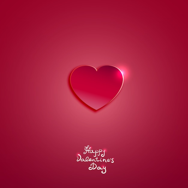 Creative pink paper heart for valentines day card  vector background Free Vector