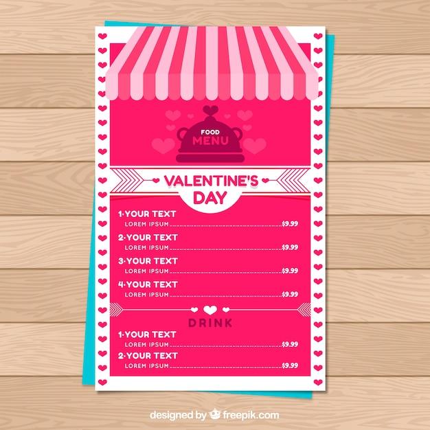Free Download Creative Pink Valentine Menu Template