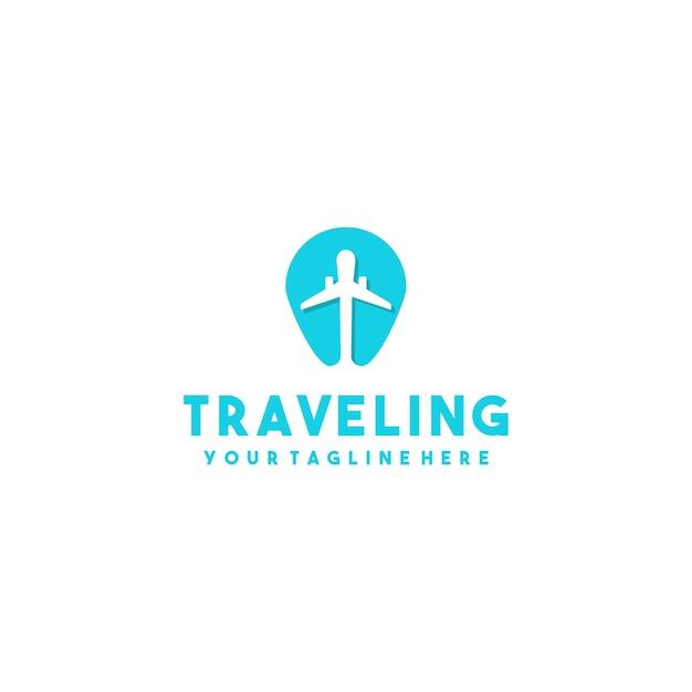 Creative plane maps logo Premium Vector
