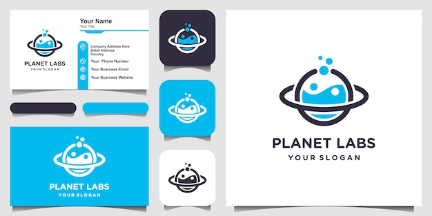 Creative planet labs logo and business card Premium Vector