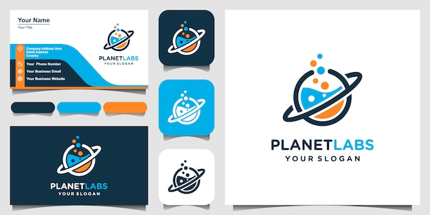 Creative planet orbit labor lab abstract logo design and business card. Premium Vector