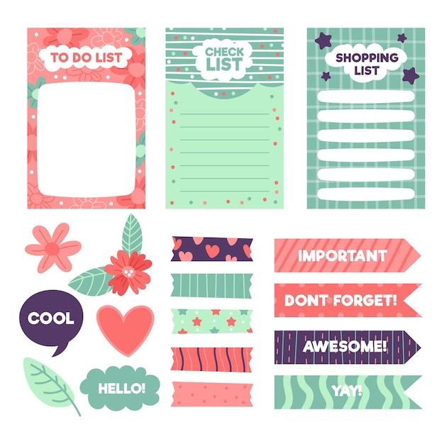 Creative planner scrapbook elements set Free Vector