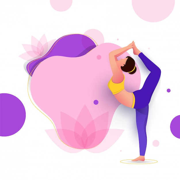 Creative poster or banner design with illustration of woman doing yoga Premium Vector