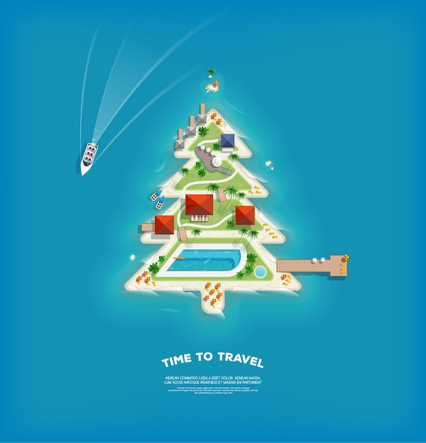 Creative poster with island in the form of a christmas tree. Premium Vector