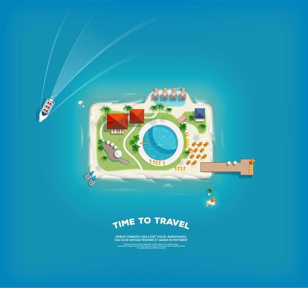 카메라의 형태로 섬과 크리 에이 티브 포스터. 휴가 휴가 배너. 섬의 최고 볼 수 있습니다. 휴가 여행. 여행 및 관광. 프리미엄 벡터